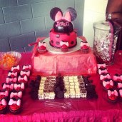 Baby Jewel's Minnie Mouse themed Sweet Table